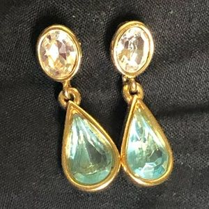 Monet 22 k gold, clear & aquamarine drop earrings